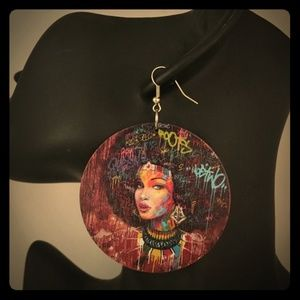 Round Wooden Earrings Woman With Afro